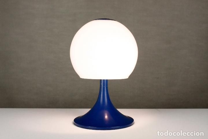 Vintage: Lampara sobremesa TRAMO Joan Antoni Blanc seta tulip azul cristal vintage retro España 60s - Foto 5 - 169283592