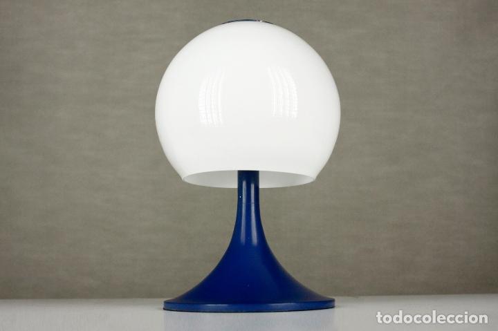 LAMPARA SOBREMESA TRAMO JOAN ANTONI BLANC SETA TULIP AZUL CRISTAL VINTAGE RETRO ESPAÑA 60S (Vintage - Lámparas, Apliques, Candelabros y Faroles)