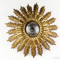 Vintage: SOL PLAFÓN APLIQUE VINTAGE RETRO PAN DE ORO LAMPARA TECHO PARED 60'S. Lote 169374648