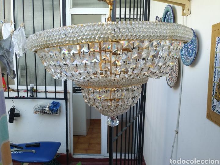 Vintage: Elegante Lampara de cristal. años 70 Recien revisada /Mide 46 de díametro superior y 36 de altur - Foto 2 - 169416388