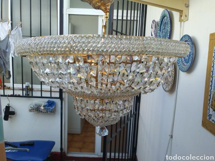 Vintage: Elegante Lampara de cristal. años 70 Recien revisada /Mide 46 de díametro superior y 36 de altur - Foto 3 - 169416388