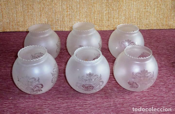 LOTE DE 6 TULIPAS DE CRISTAL. (Vintage - Lámparas, Apliques, Candelabros y Faroles)