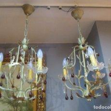 Vintage: DECORATIVA PAREJA DE LAMPARAS - 3 LUCES POR LAMPARA - LAGRIMAS DE CRISTAL - RETRO, VINTAGE. Lote 169672384