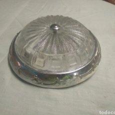 Vintage: LAMPARA TECHO DE PASILLO O RECIBIDOR METAL PLATEADO Y CRISTAL VINTAGE (FUNCIONA). Lote 171202313