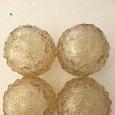 Vintage: TULIPAS DE CRISTAL PRENSADO MARRÓN CLARO, CUATRO, 12 CM DE DIÁMETRO Y SIN GOLPES. Lote 171233165