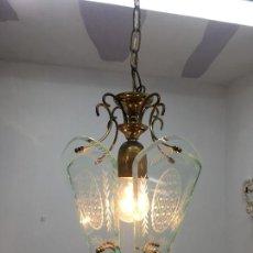 Vintage: LAMPARA DE TECHO CON CRISTALES TALLADOS. Lote 171235760