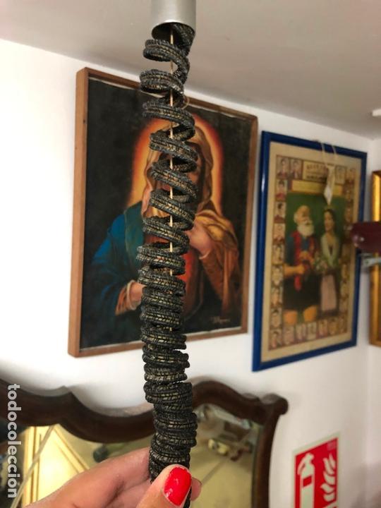 Vintage: PRECIOSA LAMPARA OVNI EN METAL CON TULIPA DE CRISTAL LABRADO AÑOS 70 - MEDIDA 65X45 CM - Foto 7 - 171341380