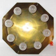 Vintage: PRECIOSA LAMPARA PLAFON VINTAGE MIDCENTURY EN LATON 8 PUNTOS DE LUZ. Lote 171458760