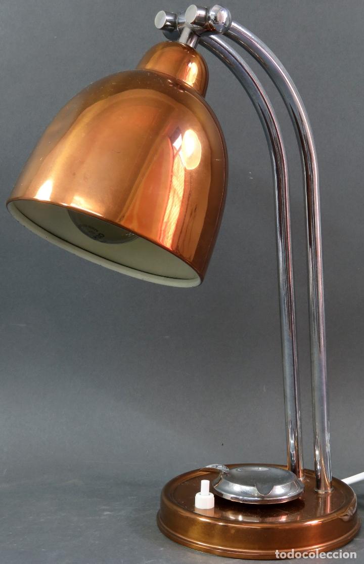 Vintage: Lámpara flexo de sobremesa con cenicero en latón graduable años 60 funciona - Foto 3 - 172060625