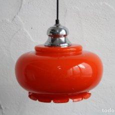 Vintage: LAMPARA TECHO CRISTAL OPALINA NARANJA. Lote 173257310