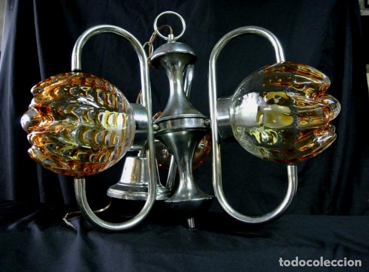 Vintage: Lampara. Space. Acero y cristal murano. Vintage - Foto 2 - 174531579