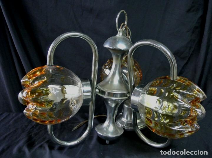 Vintage: Lampara. Space. Acero y cristal murano. Vintage - Foto 4 - 174531579