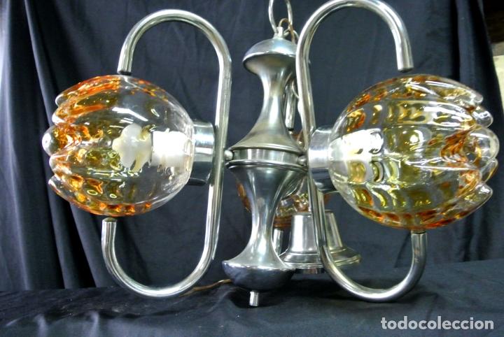 Vintage: Lampara. Space. Acero y cristal murano. Vintage - Foto 5 - 174531579