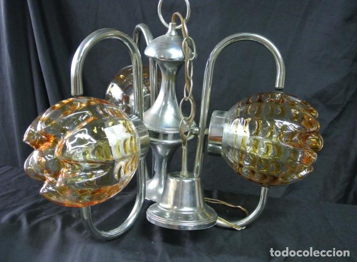 Vintage: Lampara. Space. Acero y cristal murano. Vintage - Foto 6 - 174531579