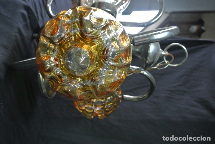 Vintage: Lampara. Space. Acero y cristal murano. Vintage - Foto 7 - 174531579