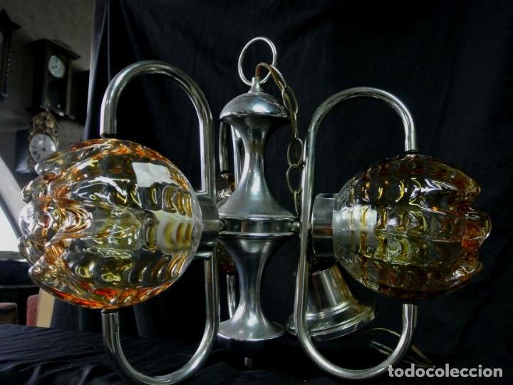 Vintage: Lampara. Space. Acero y cristal murano. Vintage - Foto 8 - 174531579