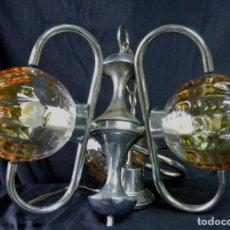 Vintage: LAMPARA. SPACE. ACERO Y CRISTAL MURANO. VINTAGE. Lote 174531579
