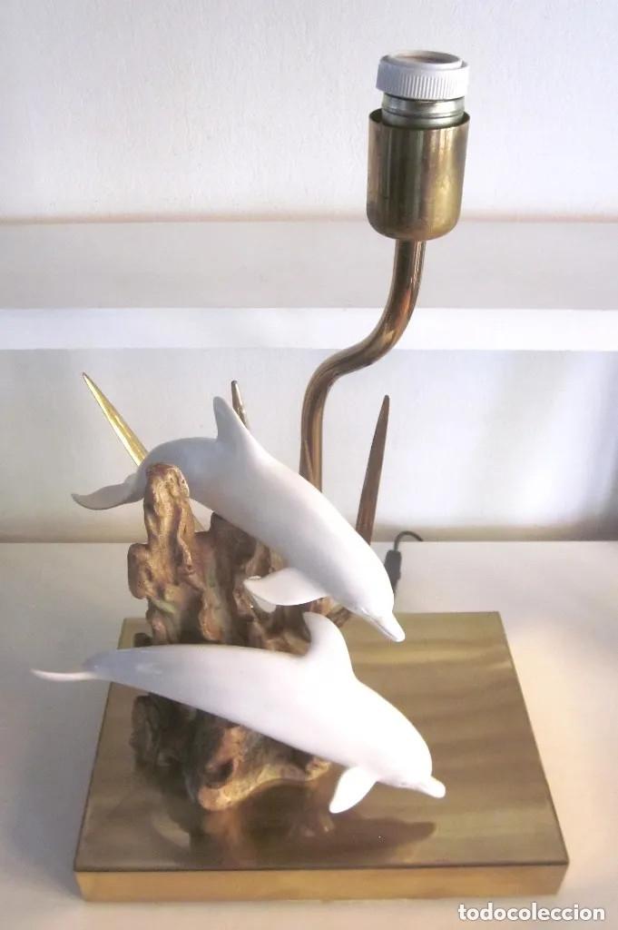dorado con metal de resina años lámpara delfines 70 mesa de Gran y pie NkPwO8nXZ0