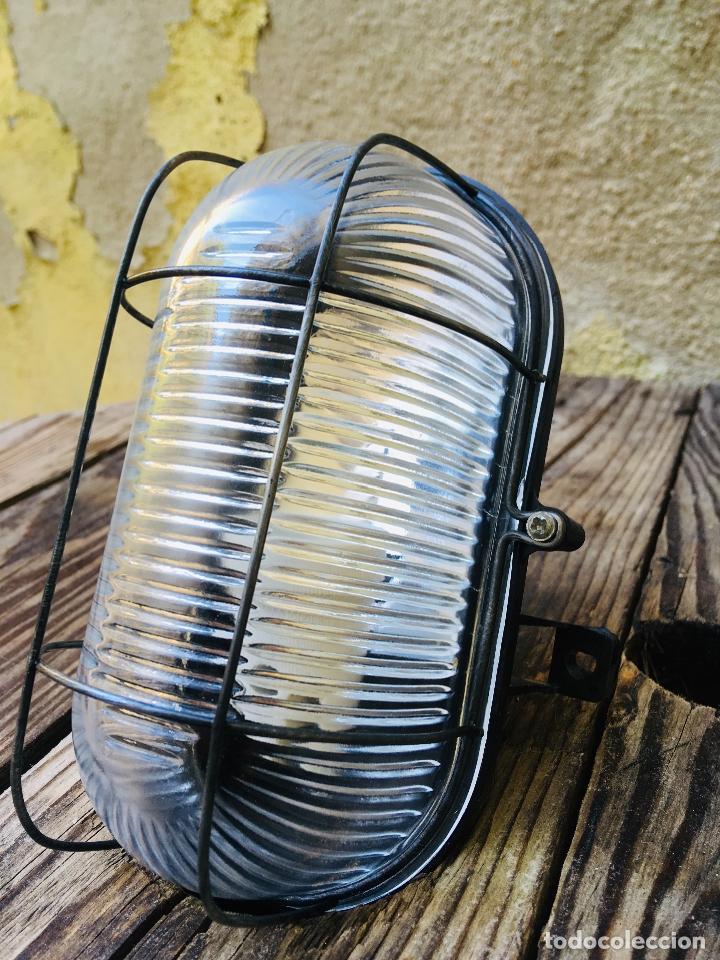 APLIQUE DE REJILLA INDUSTRIAL MADE IN GERMANY LAMPARA DE PARED CON TULIPA DE CRISTAL (Vintage - Lámparas, Apliques, Candelabros y Faroles)