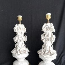 Vintage: PAREJA LAMPARA DE MESA ANTIGUAS EN CERAMICA MANISES VINTAGE VALENCIA AÑOS 60. Lote 177204169