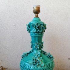 Vintage: LAMPARA VINTAGE ANTIGUA MANISES PORCELANA CERÁMICA FLORES. Lote 177205507