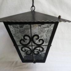 Vintage: FAROL DE HIERRO Y CRISTAL. FORJA. LAMPARA. PLAFON.. Lote 177422785
