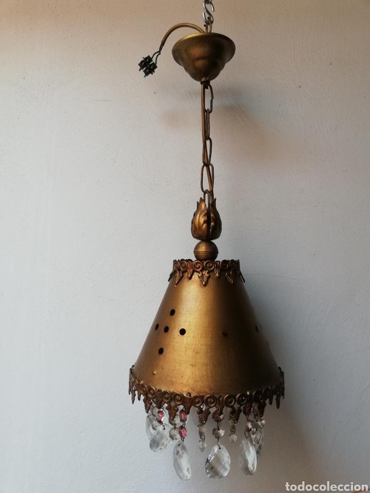 Vintage: LÁMPARA COLGAR EN METAL DORADO CON LAGRIMAS DE CRISTAL. I - Foto 4 - 177825944