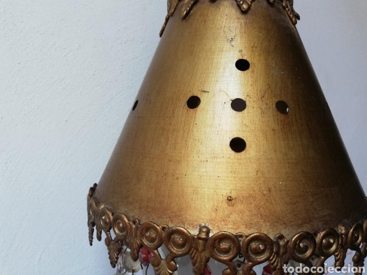 Vintage: LÁMPARA COLGAR EN METAL DORADO CON LAGRIMAS DE CRISTAL. I - Foto 10 - 177825944