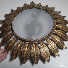 Vintage: LAMPARA CORONA HOJA VINTAGE APLIQUE PLAFON TECHO RETRO ESPAÑA 60'S PAN DE ORO -SOL . Lote 178052325