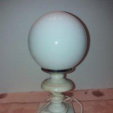 Vintage: LAMPARITA DE ALABASTRO Y OPALINA BLANCA. AÑOS 60 - 70. FUNCIONA, 27 X 13 CM.. Lote 178079998