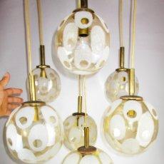 Vintage: BESTIAL LAMPARA ALEMANA FISCHER LEUCHTEN MIDCENTURY 90 X50 GLOBOS CASCADA. Lote 178155910