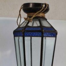 Vintage: LAMPARA FAROL AZUL CRISTAL Y METAL. Lote 178835581