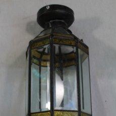 Vintage: LAMPARA FAROL COLOR ORO CRISTAL Y METAL. Lote 178835817