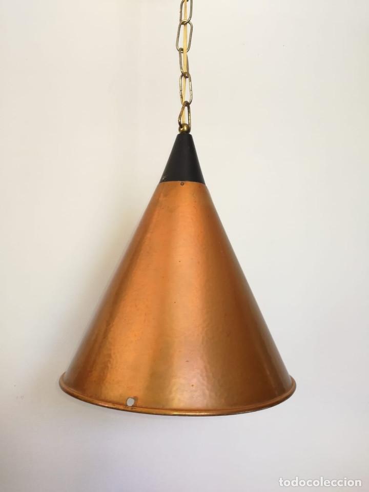 LAMPARA DANESA DE CONO EN COBRE, 1970S (Vintage - Lámparas, Apliques, Candelabros y Faroles)