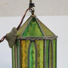 Vintage: LAMPARA FAROL CON PLOMADA Y CRISTALES DE COLOR. Lote 179135111