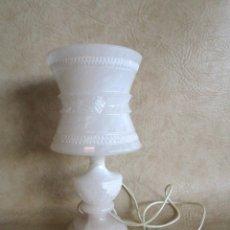 Vintage: ANTIGUA LAMPARA DE PIEDRA DE ALABASTRO TALLADA. Lote 179324178