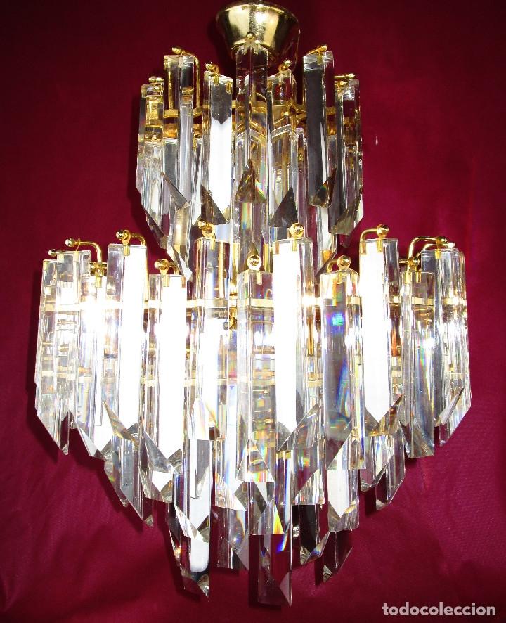 ESPECTACULAR LAMPARA CASCADA VINTAGE CRISTAL MURANO VENINI (Vintage - Lámparas, Apliques, Candelabros y Faroles)