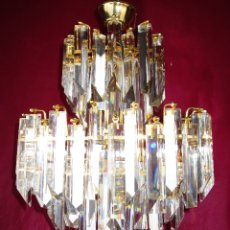Vintage: ESPECTACULAR LAMPARA CASCADA VINTAGE CRISTAL MURANO VENINI . Lote 179333598