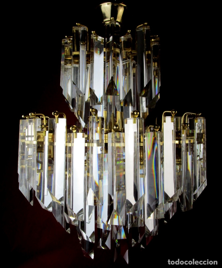 Vintage: ESPECTACULAR LAMPARA CASCADA VINTAGE CRISTAL MURANO VENINI - Foto 3 - 179333598