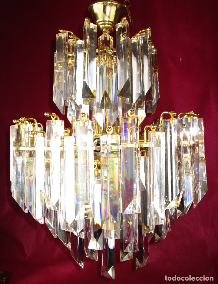 Vintage: ESPECTACULAR LAMPARA CASCADA VINTAGE CRISTAL MURANO VENINI - Foto 5 - 179333598