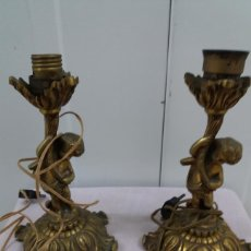 Vintage: PAREJA DE ANGELES QUERUBINES DE BRONCE. LAMPARAS SIN PANTALLA.. Lote 179541800