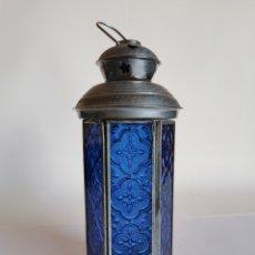 Vintage: FAROL DE CRISTAL AZUL PARA VELAS. Lote 180023603