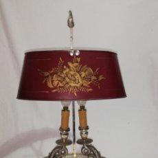 Vintage: ELEGANTE LAMPARA ANTIGUA DE MESA COLOR PLATA ESCULTURA DE PEZ Y PANTALLA DE METAL VINTAGE AÑOS 70. Lote 180139116