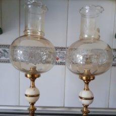 Vintage: PAREJA DE LÁMPARAS DE SOBREMESA EN BRONCE Y ALABASTRO. Lote 180253686