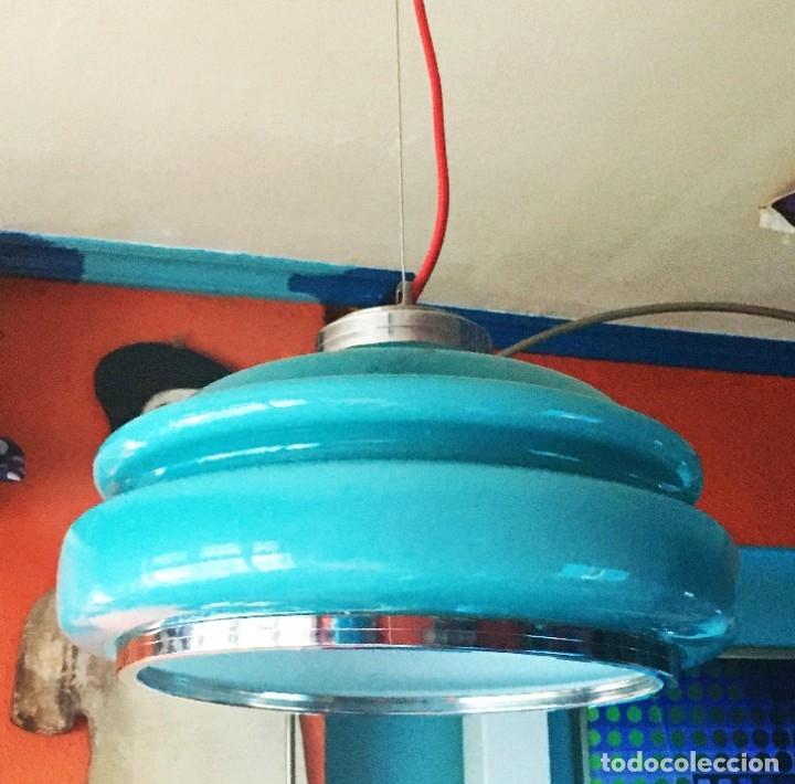 LAMPARA TECHO OPALINA AZUL TURQUESA AÑOS 60-70 (Vintage - Lámparas, Apliques, Candelabros y Faroles)