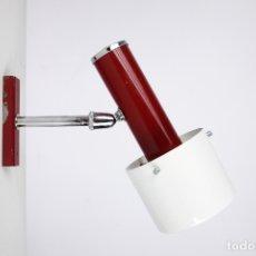 Vintage: APLIQUE ORIENTABLE LAMPARA PARED METAL CROMADO ROJO VINTAGE RETRO 70'S. Lote 180468716