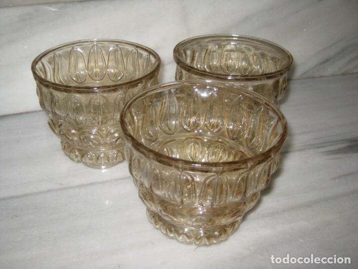 LOTE DE 3 TULIPAS DE CRISTAL GRUESO. (Vintage - Lámparas, Apliques, Candelabros y Faroles)