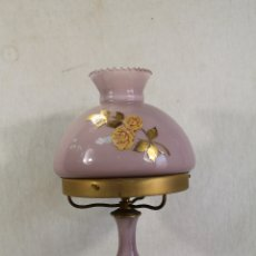 Vintage: LAMPARA QUINQUE DE CRISTAL CON PIE DE MARMOL. Lote 182141183