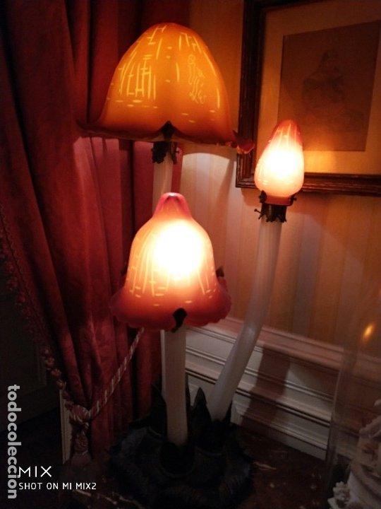 GALLE LES COPRINS. FIRMA CARACTERES ORIENTALES. SU BUQUE INSIGNIA. (Vintage - Lámparas, Apliques, Candelabros y Faroles)
