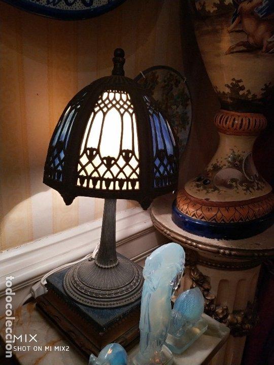 ANTIGUA LÁMPARA ART DÉCO EMPLOMADA 34X19 CTMS (Vintage - Lámparas, Apliques, Candelabros y Faroles)